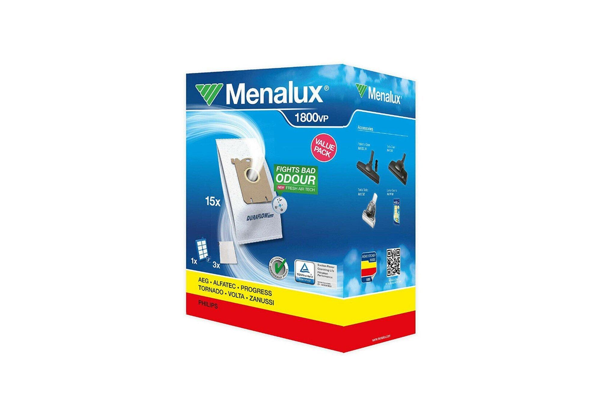 15x Vacuum Bags Menalux 1800VP AEG Philips Electrolux Volta Zanussi (900168908)
