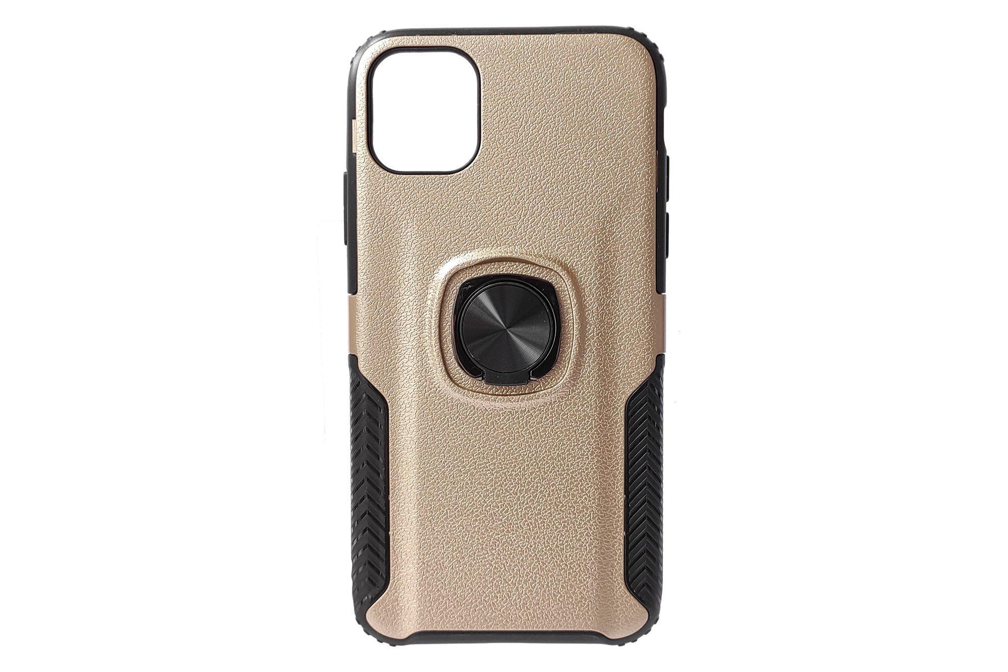 Hjin Metallic Leather Ring TPU Case Apple iPhone 11 Gold