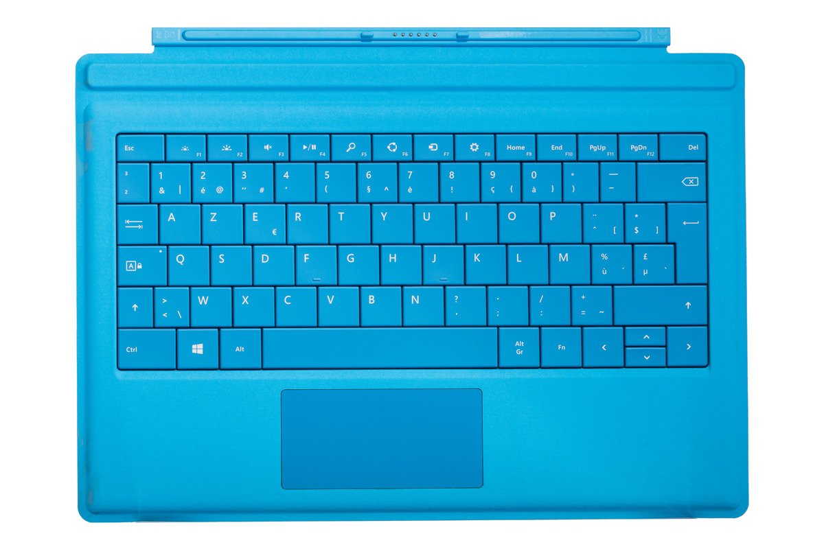 Keyboard Microsoft Surface Type Cover Pro 3 Cyan AZERTY (Belgian) Grade A